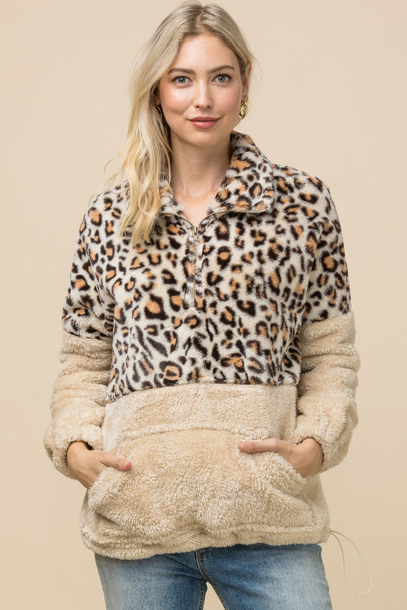 Natural Fleece Leopard Sweater