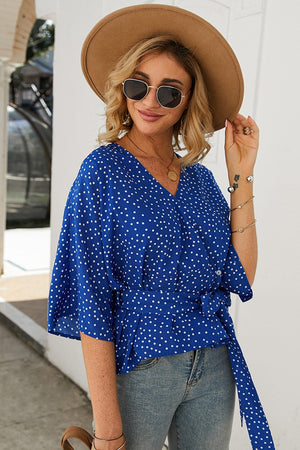 Blue V Neck Wrap Polka Dot Print Blouse