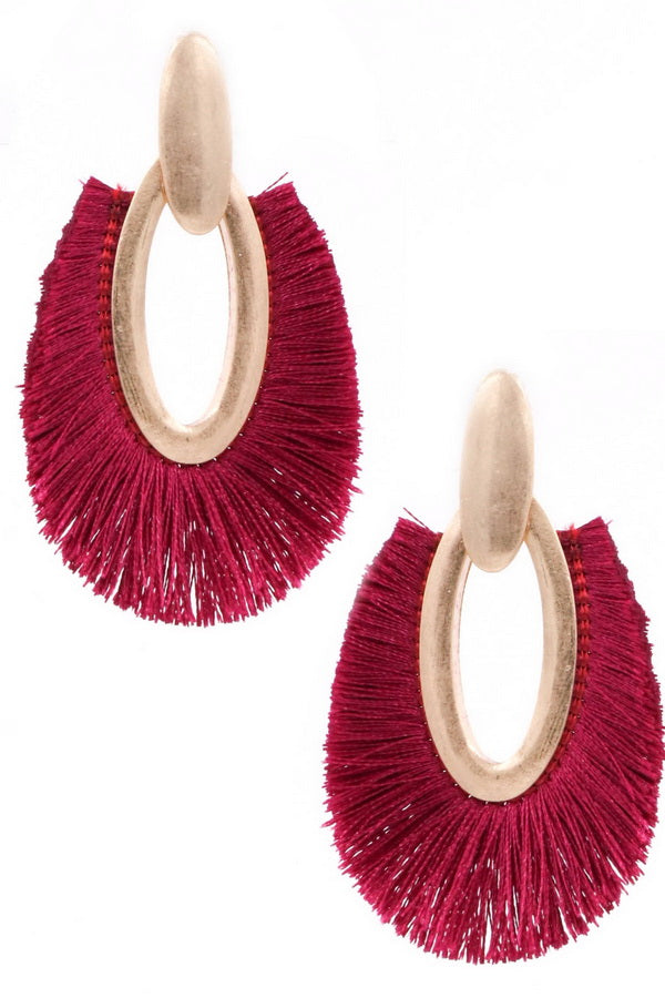Burgundy Metal Oval Earrings