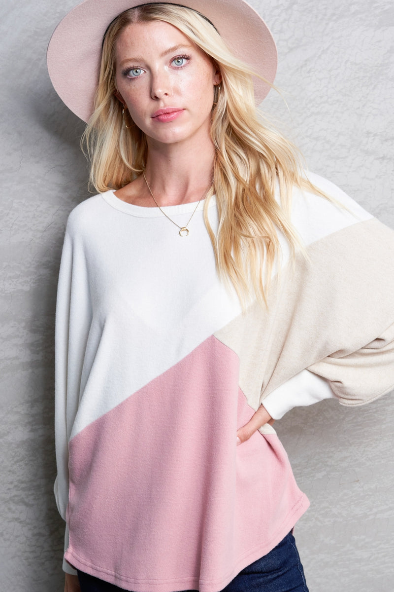 Blush Slanted Color Block Sweater