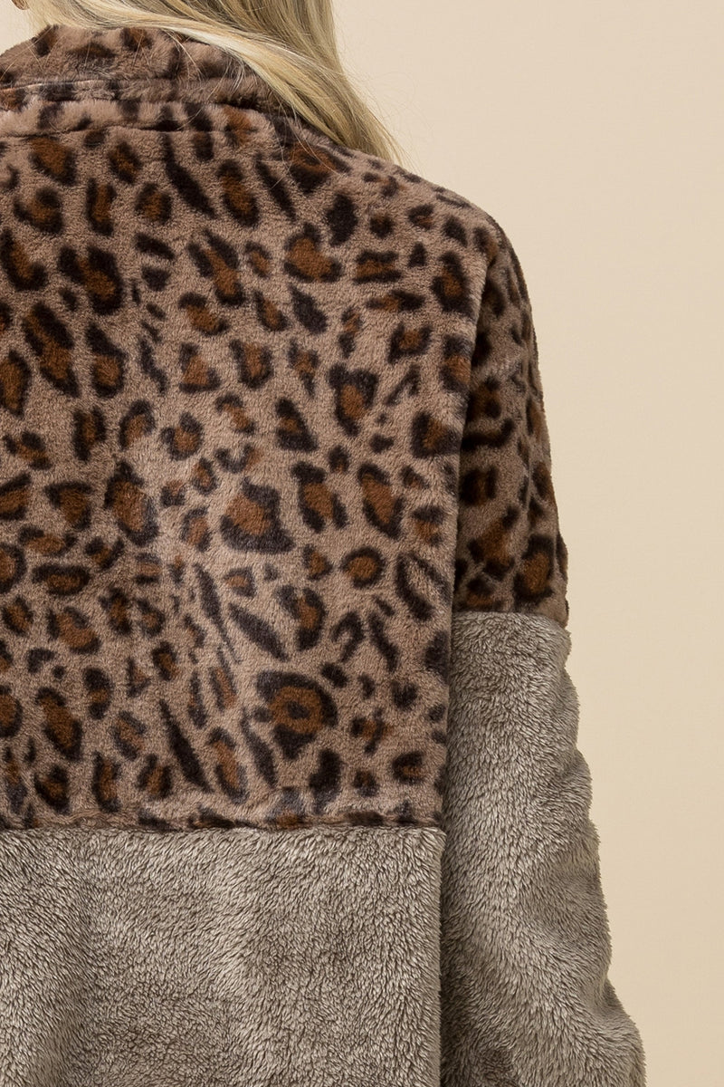 Mocha Fleece Leopard Sweater