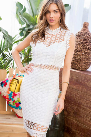 White Waist Trim Zipper Crochet Dress