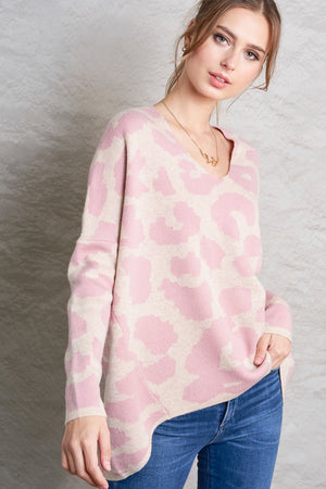 Blush V-neck Leopard Print Sweater