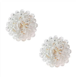 Clear Bead Stud Earrings
