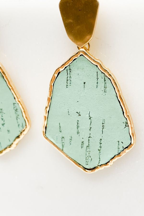 Cork Hexagon Earrings