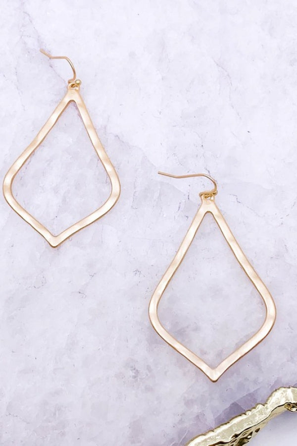 Gold Kite Shaped Matte Plated Earrings