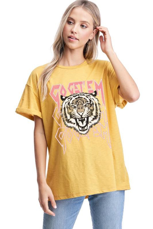 Best Seller!!! Mustard Go Get 'Em Graphic Top 4/9