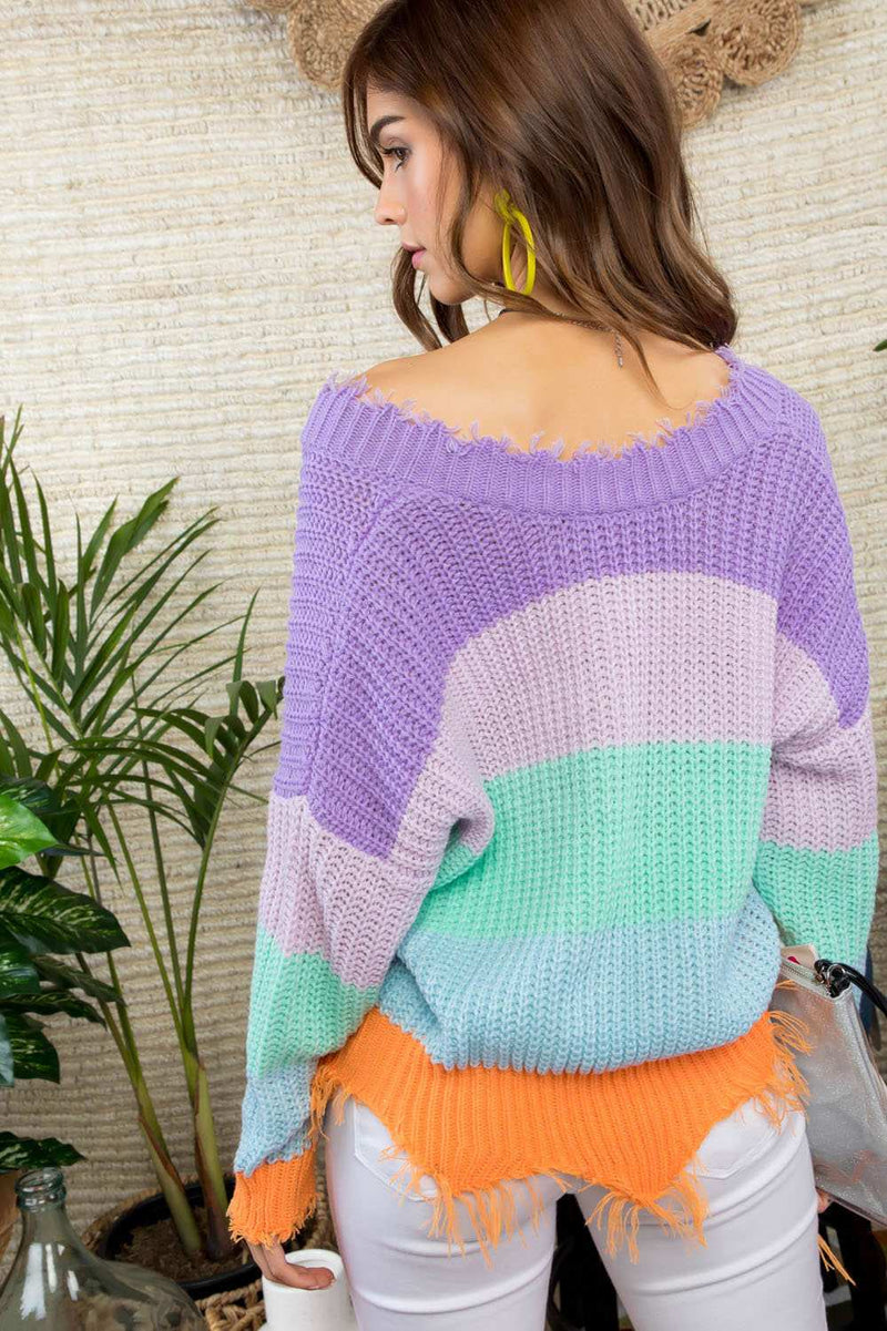 Multi Color Block Distressed Sweater