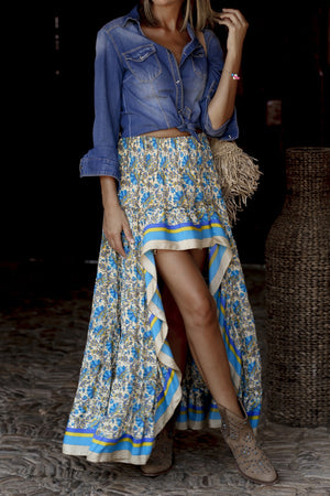 Blue Floral Printed Ruffle Maxi Skirt (Preorder 6/15)
