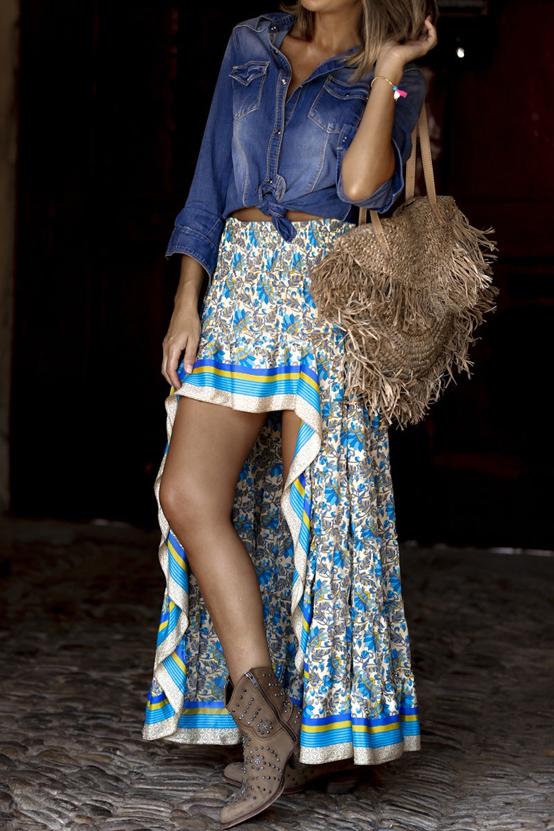 Blue Floral Printed Ruffle Maxi Skirt (Preorder 10/30)