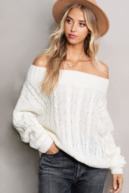 Ivory Off The Shoulder Knit Sweater