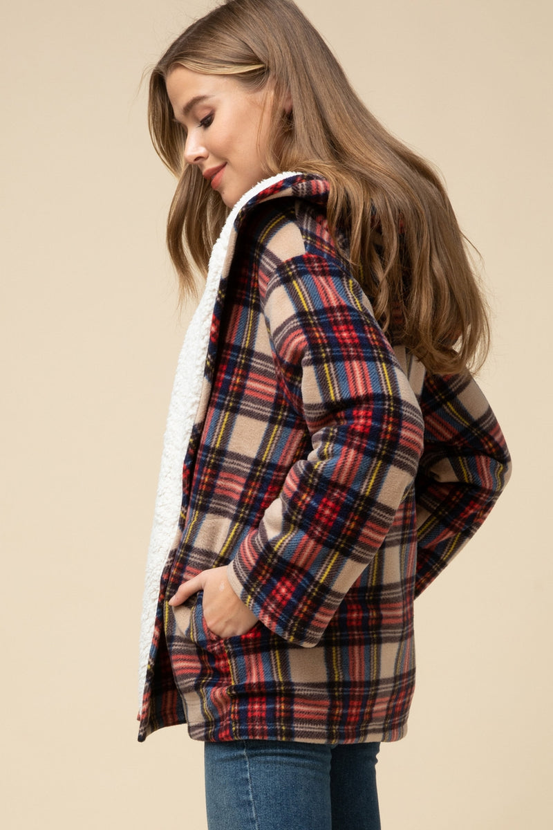 Plaid hooded shearling jacket
