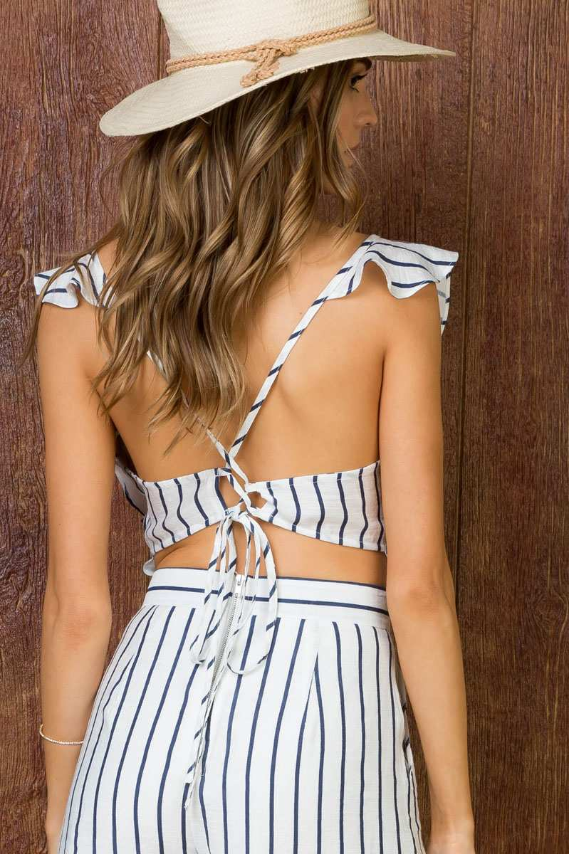 CROSS TIE BACK RUFFLE STRIPE JUMPSUIT