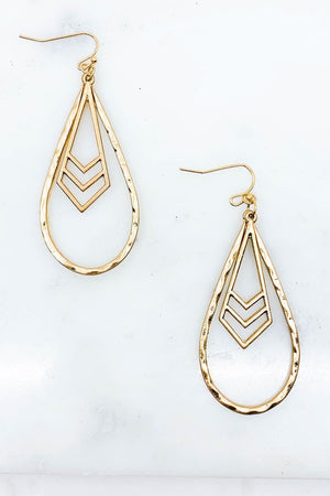 HAMMERED TEARDROP CHEVRON EARRINGS