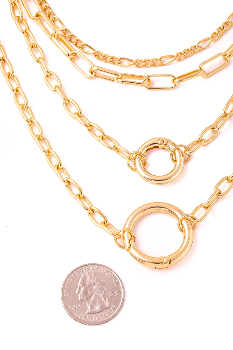 Gold  Double Hoop Charm Layer Necklace