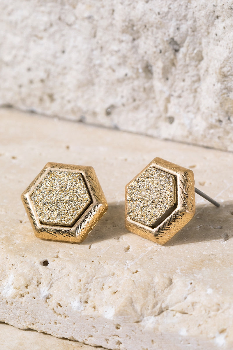 Gold Hexagon Faux Druzy Earrings