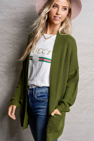 Olive Solid Knit Cardigan