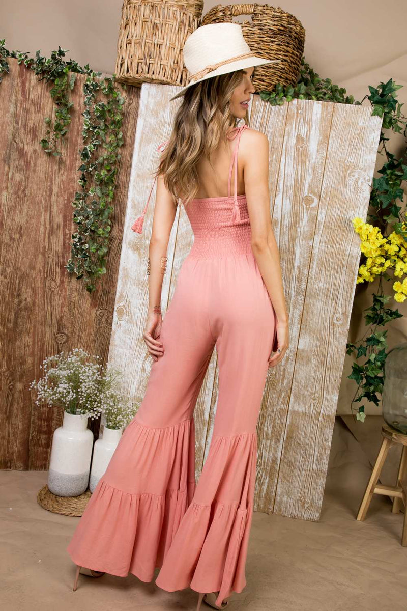 CORAL SMOCKING TOP WIDE RUFFLE JUMPSUIT