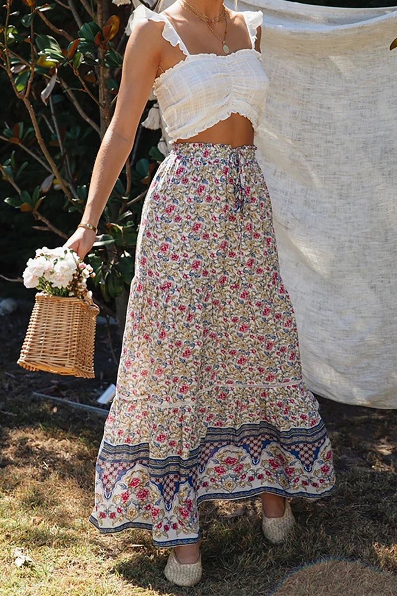 White Floral Ruffled Maxi Skirt (Preorder 10/30)