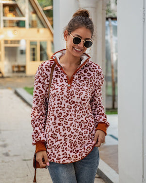 Pink Leopard Print Sherpa Pullover