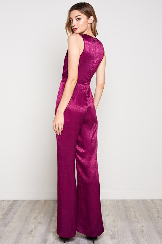 SATIN PLUNGING NECK SLEEVELESS JUMPSUIT