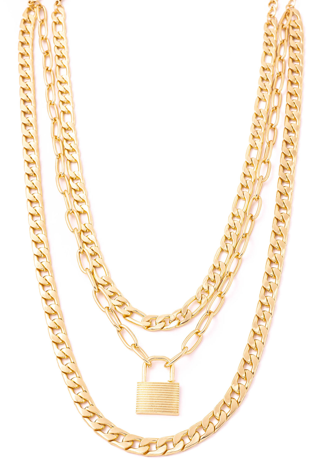 Gold Lock Charm Curb Chain Necklace