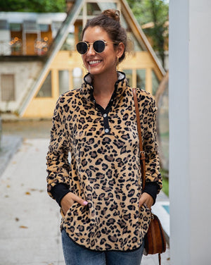 Brown Leopard Print Sherpa Pullover