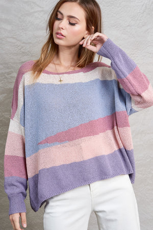 Mauve Asymmetrical Stripe Sweater