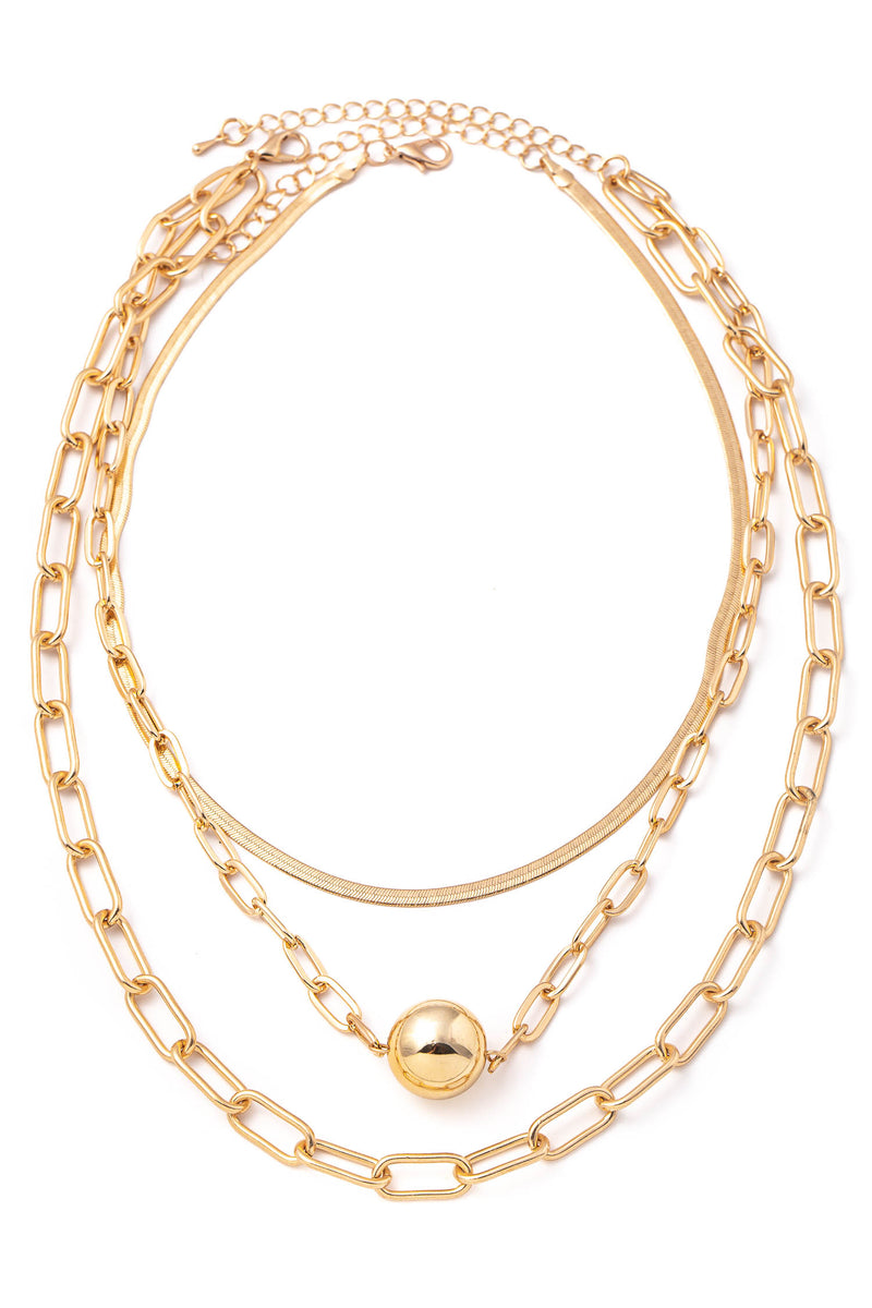 Gold Triple Layered Chain Necklace Set