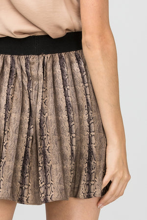 Brown Pleated reptile print skirt
