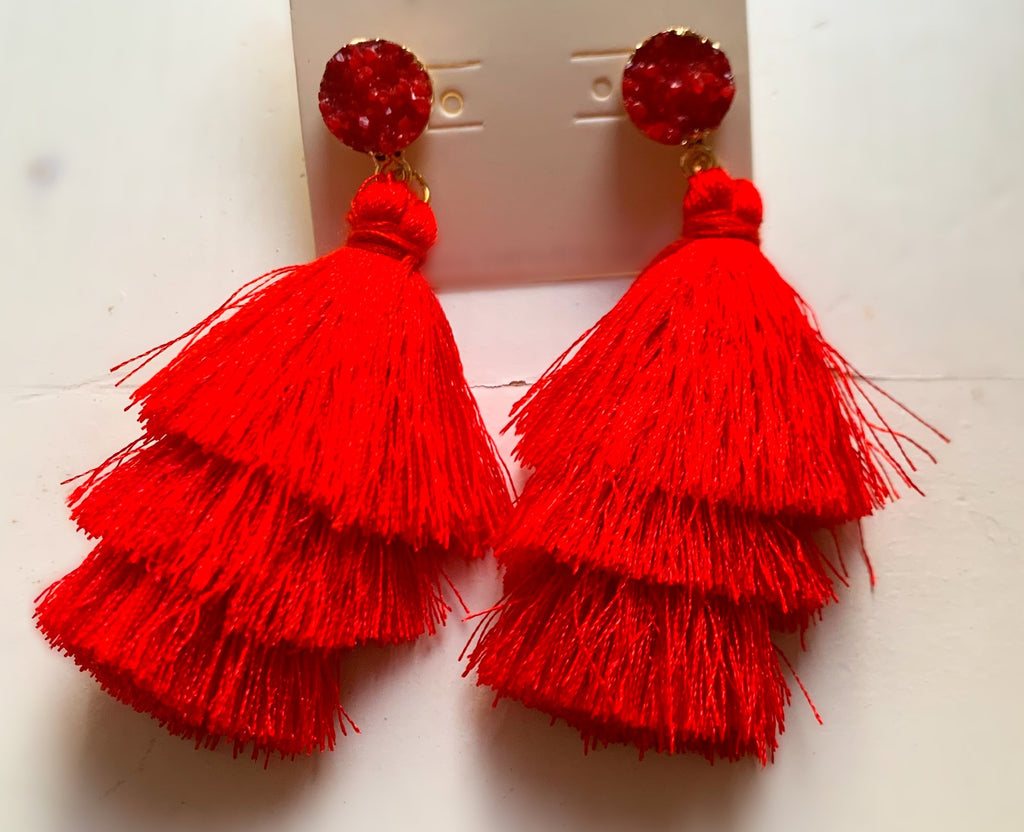 Red Druzy Post Tassel Drop Earrings