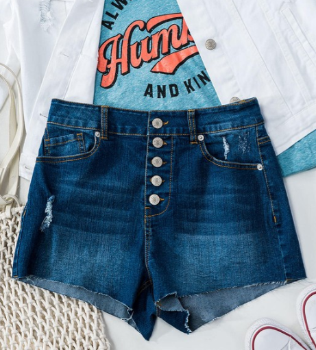 DENIM MULTI BUTTON DOWN RAW HEM SHORTS