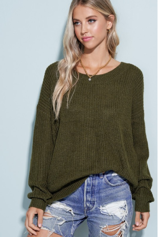 Olive Twist Back Sweater