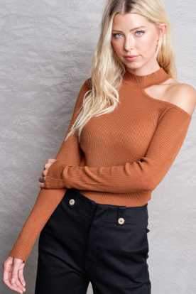Camel Cut Out Sweater Top