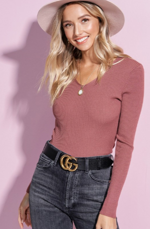 $15 Friday!! Mauve Fine Gauge Ribbed Sweater