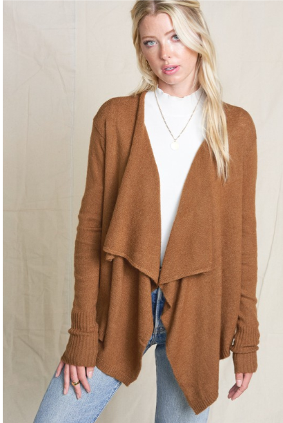 Camel Open Front Cardi