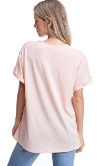 Peach Hippie Heart & Champagne Soul Graphic Top