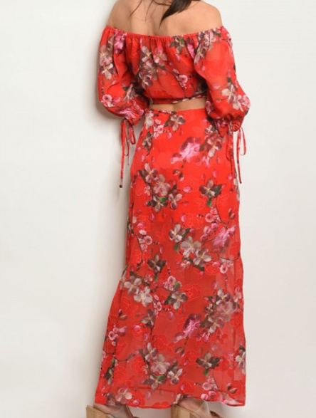 Red Floral Top And Skirt Set Listed Seperately