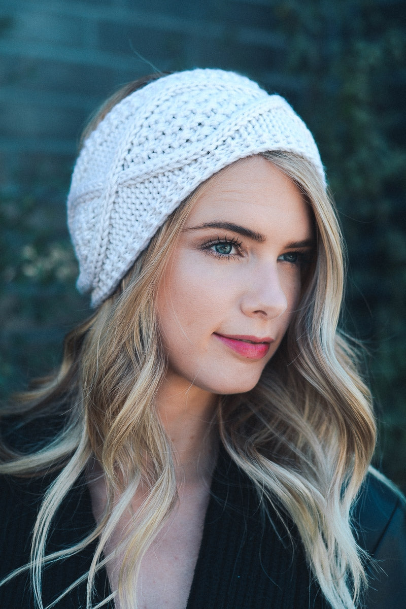 Ivory Diamond Stitch Headwrap