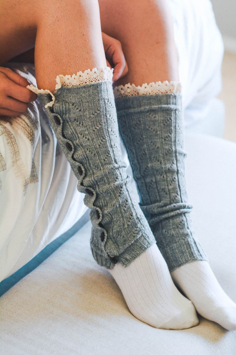 Light Gray Button Down Legwarmer
