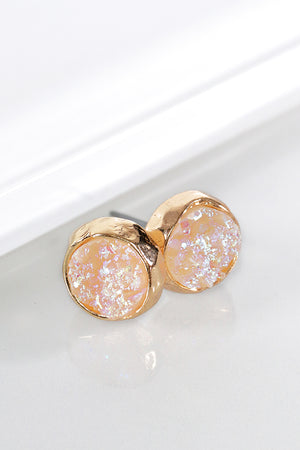 Opal Dainty Round Druzy Post Earrings
