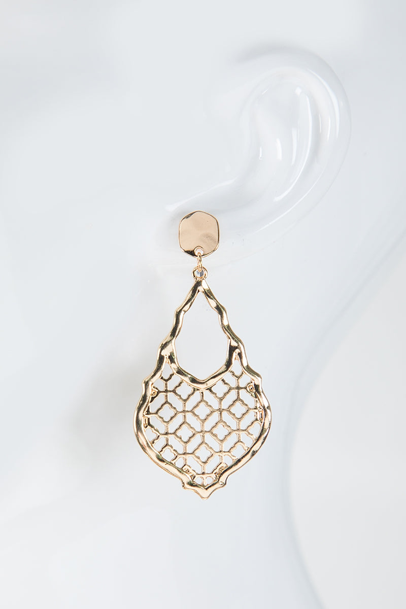 Gold Moroccan Flower Filigree Earrings