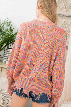 Multi Colored Frayed Sweater
