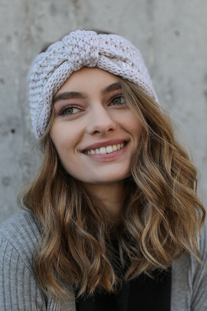 Ivory Rolled Bow Knit Headband