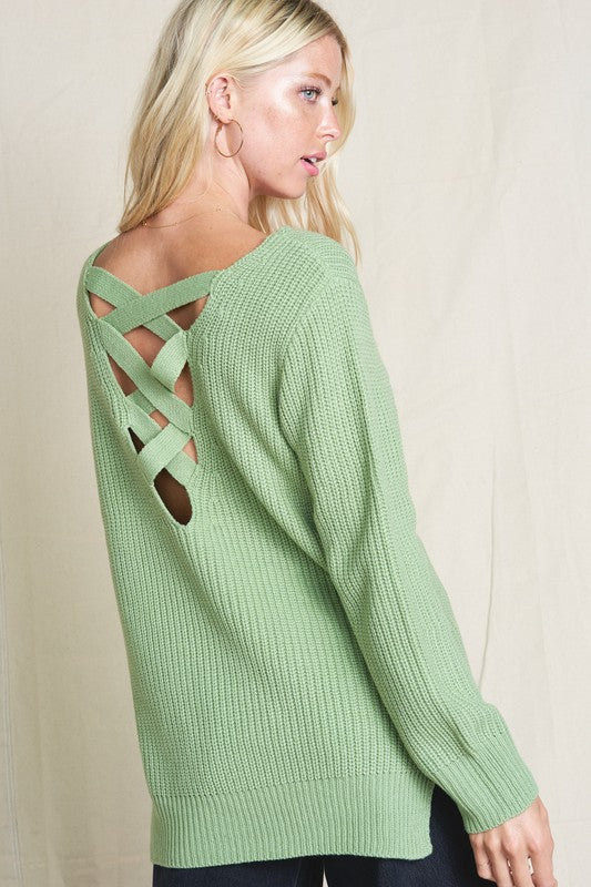 """Lucky You"" Criss Cross Back Sweater"