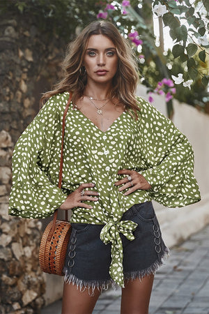 Green V Neck Front Knot Blouses