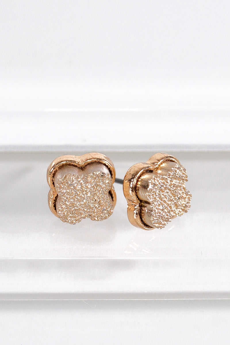 Best Seller!!! Rose Gold Dainty Clover Druzy Post Earrings