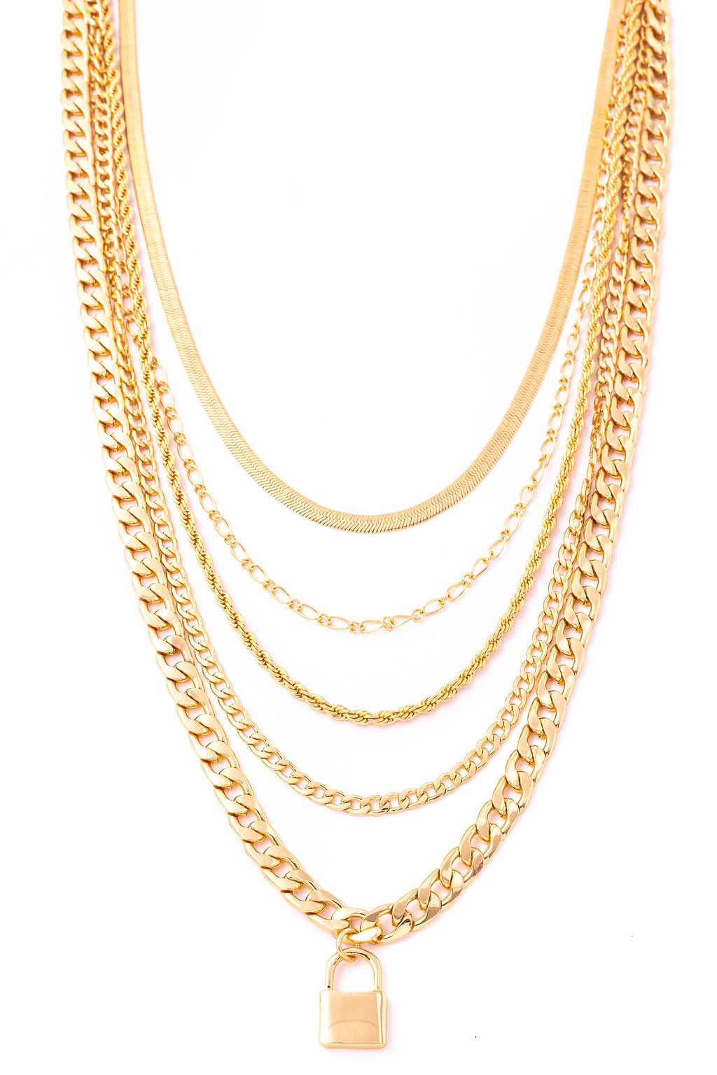 Gold Mixed Chains Lock Charm Necklace