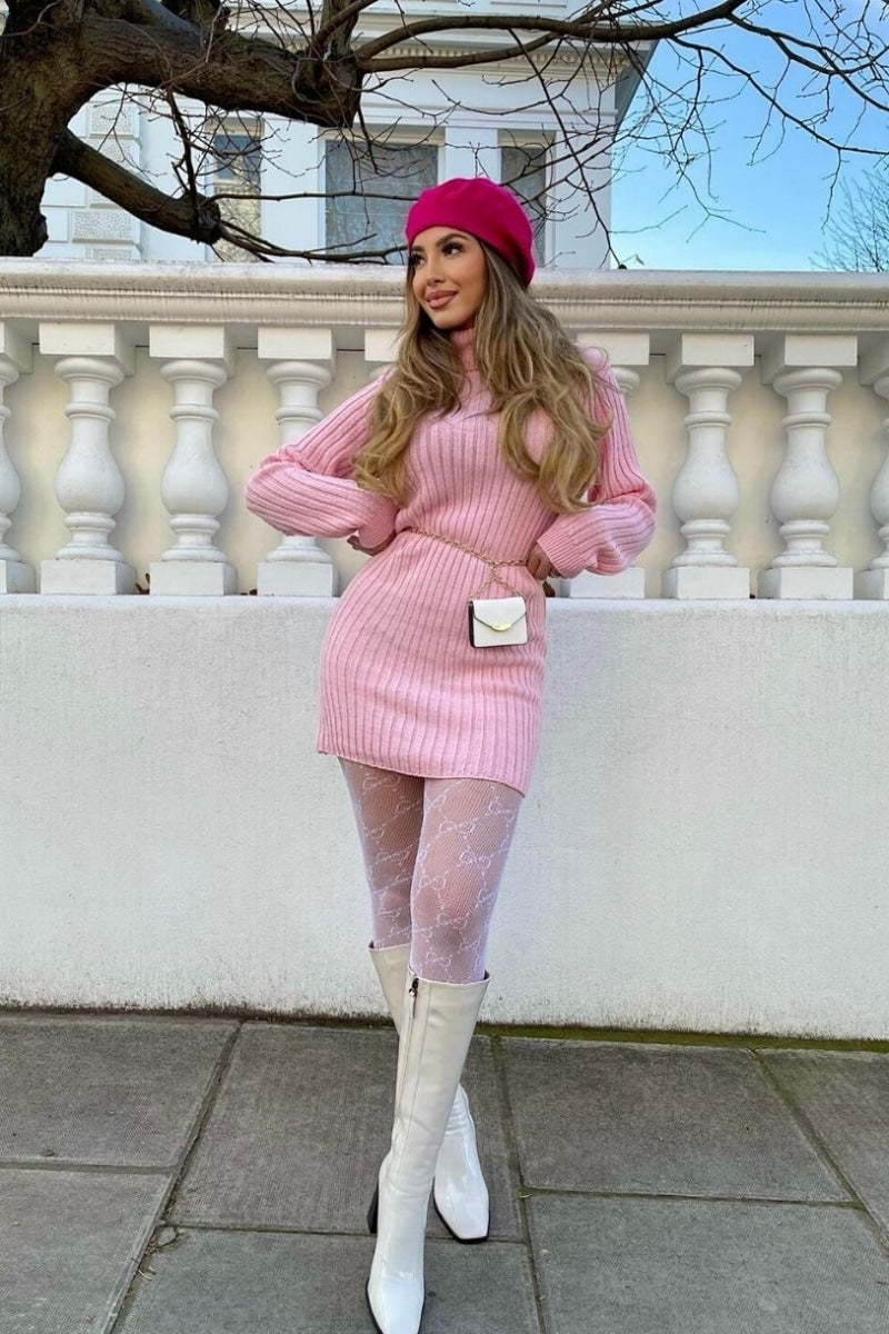Baby Pink Rib Knit Roll Neck Jumper Dress