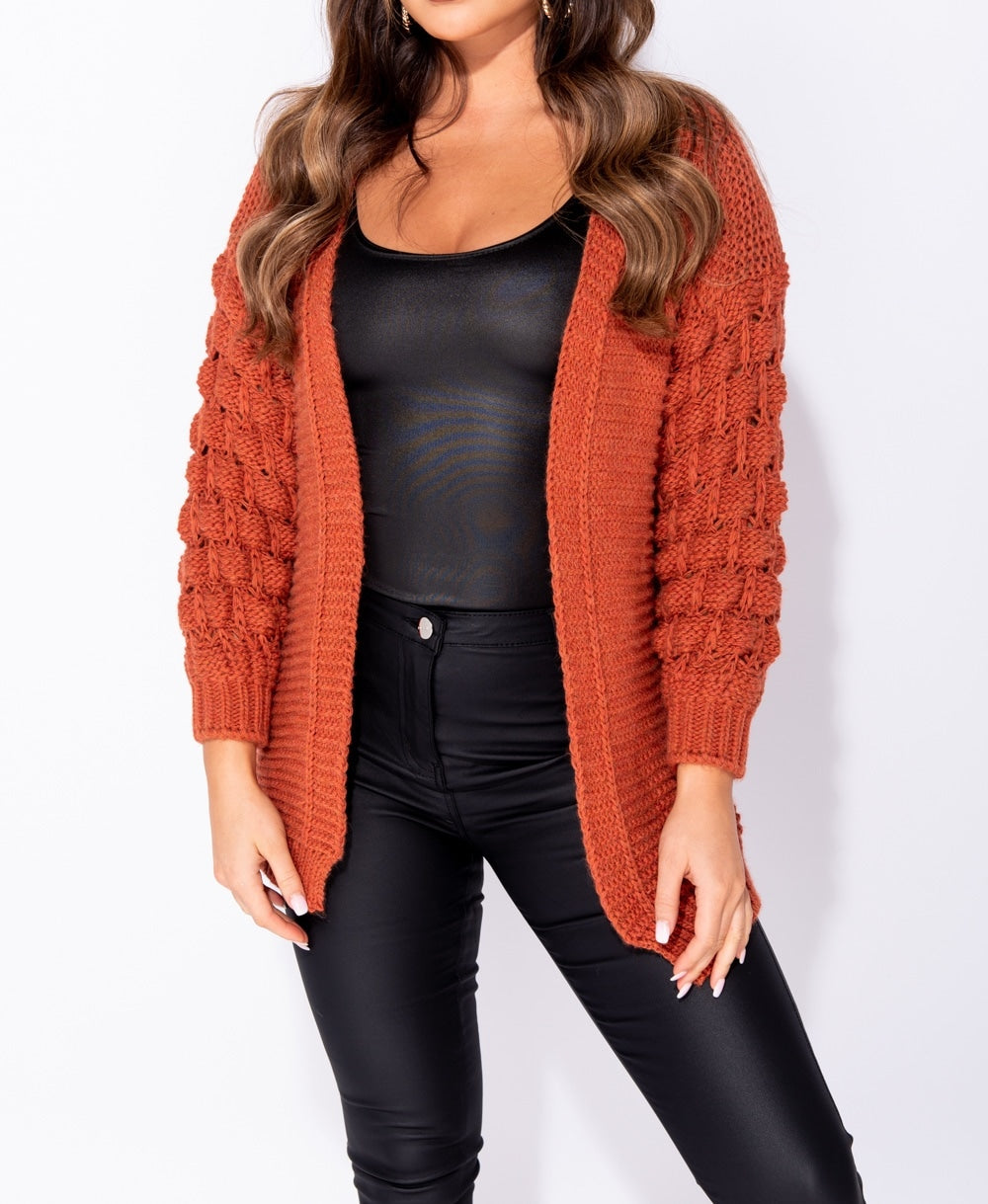 Bestseller!!! Rust Basket Weave Sleeve Edge To Edge Cardigan